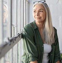 Woman see through the window